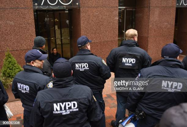 New York Police Department gather as a group of amnesty Dreamer protesters staged a sitin at New York Senator Chuck Schumers office in New York...