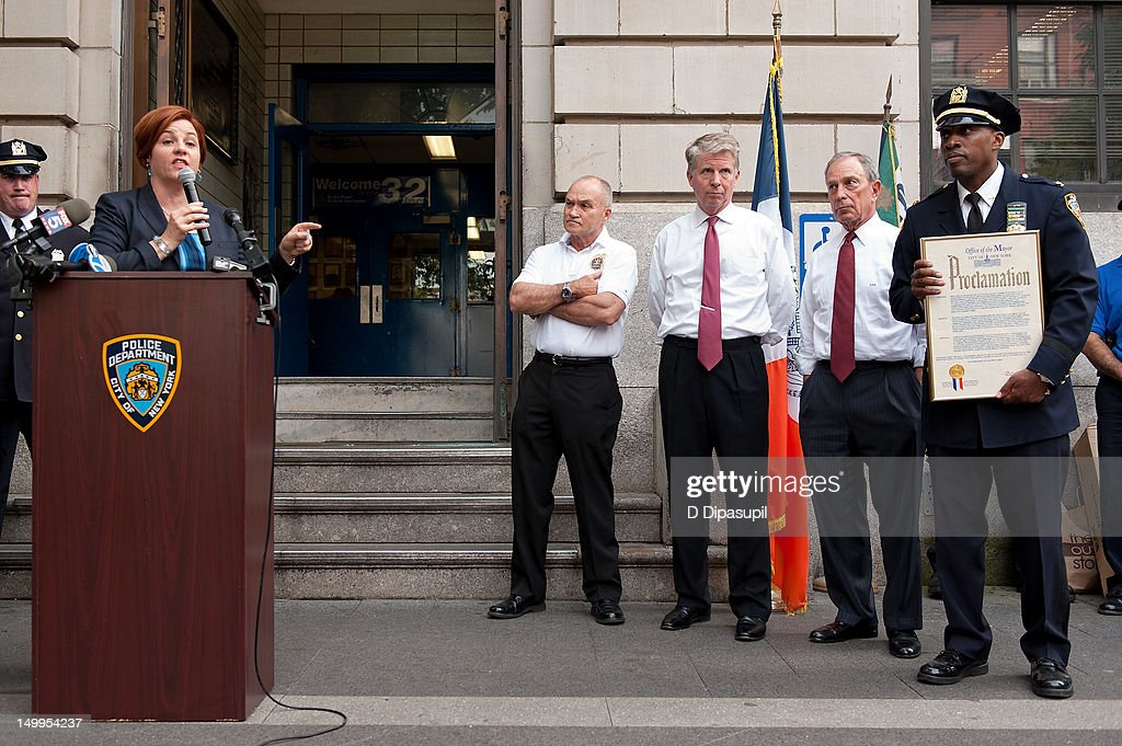 New York Police Department Inspector Rodney Harrison, New York City mayor Michael R. Bloomberg, Manhattan District Attorney Cyrus R. Vance, Jr., New York City Police Commissioner Raymond W. Kelly, and New York City Council Speaker Christine C. Quinn attend National Night Out on the streets of Manhattan on August 7, 2012 in New York City.