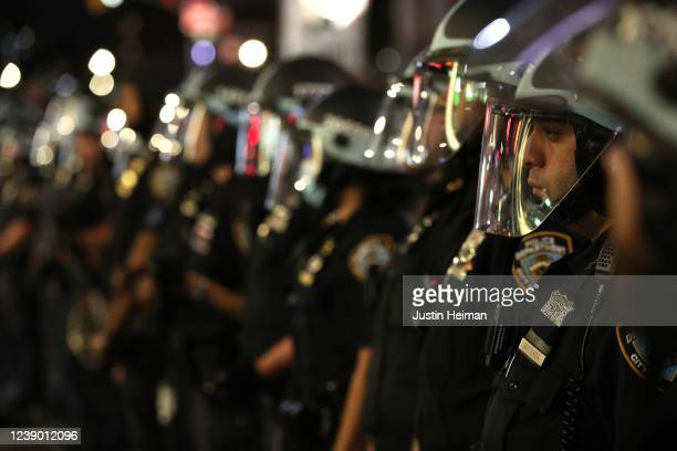 New York Police Department officers gather during a rally on May 31, 2020 in New York City. Protesters demonstrated for the fourth straight night...