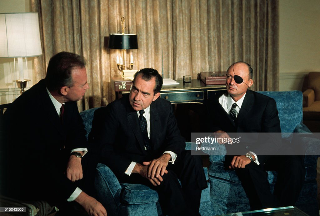 President-elect Richard Nixon chats with Israeli Ambassador, Yitzhak Rabin, left, Israeli Defense Minister, Moshe Dayan, second from right, and Nixon's National Security Advisor, Dr. Henry Kissinger, right, at Nixon's headquarters. Afterward, Dayan said he was reassured the United States will not substantially change the Mideast policy under the new administration.