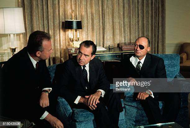 New York: President-elect Richard Nixon chats with Israeli Ambassador, Yitzhak Rabin, left, Israeli Defense Minister, Moshe Dayan, second from right,...