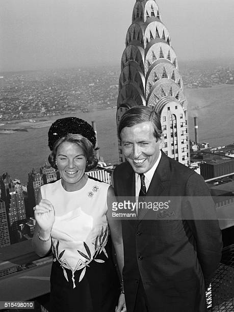 Princess Beatrix of the Netherlands and Prince Claus view the breathtaking panorama of New York's skyscrapers 7/29 from the top of the Pan Am...