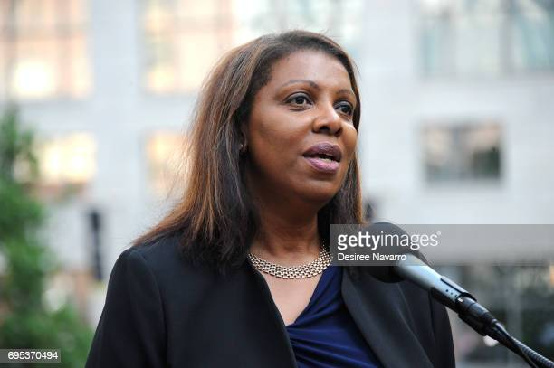 New York Public Advocate Letitia James speaks during the Anne Frank Tree Dedication at Liberty Park on June 12, 2017 in New York City.