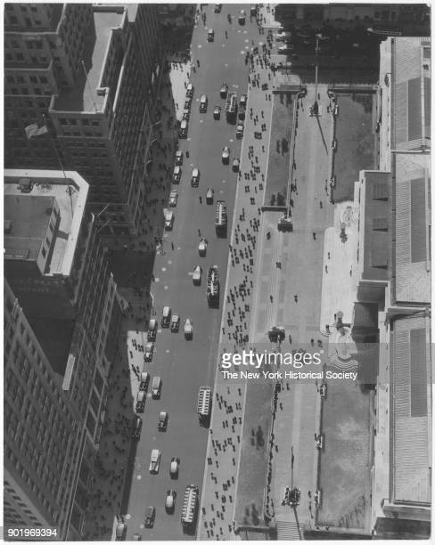 New York Public Library and Fifth Avenue at 42nd Street looking down from 500 Fifth Avenue building New York New York 1929