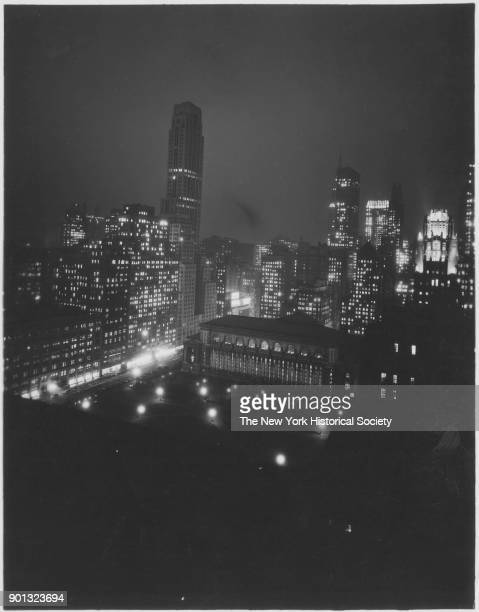New York Public Library at night looking northeast from 40th Street New York New York 1929