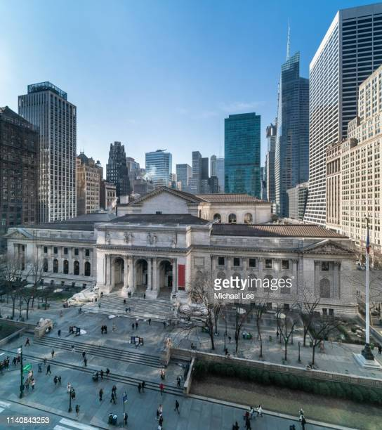 new york public library on fifth avenue - new york public library stock pictures, royalty-free photos & images
