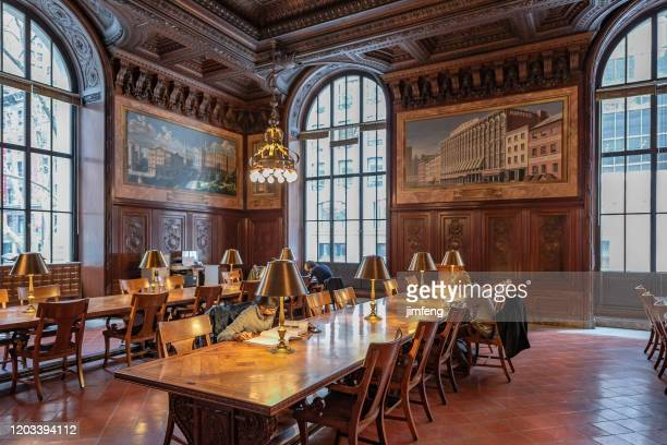 new york public library reading room in new york city, usa - new york public library stock pictures, royalty-free photos & images