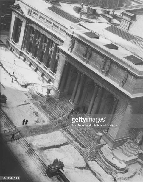 New York Public Library snowcovered view from above New York New York 1929