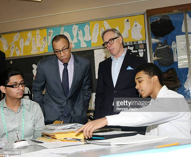 New York Public Schools Chancellor Dennis Walcott and Designer Tommy Hilfiger attend the High School For Fashion Industries during the Tommy Hilfiger...