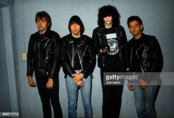 New York punk rock band The Ramones pose backstage April 29 1983 before a performance at the Kabuki Theatre in San Francisco Left to right Tommy...
