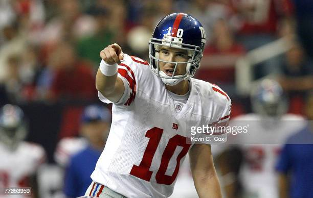 New York quarterback Eli Manning during the second half of the Giants 27-14 win over Atlanta Sunday, October 15 at the Georgia Dome in Atlanta,...