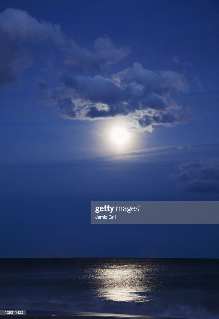 USA New York Queens Rockaway Beach Landscape With Sea And Moonlight At Night