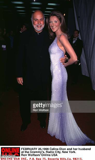 2/25/98 New York Radio City Music Hall Celine Dion And Her Husband Rene Backstage At The 40Th Annual Awards Festival