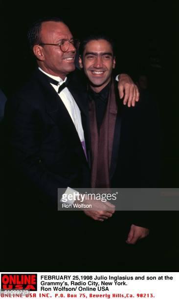 New York , Radio City Music Hall, Julio Iglesias And Alejandro Fernandez Backstage At The 40Th Annual Awards Festival