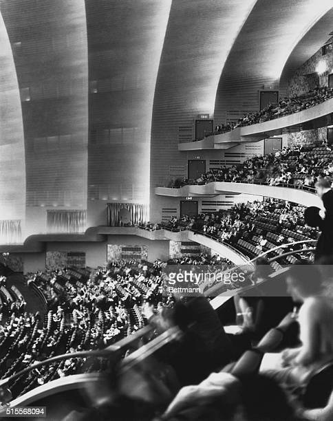 Radio City Raises CurtainOn World's Largest Theater The tiered auditorium gives this modernistic aspect to the Radio City Music Hall during its...