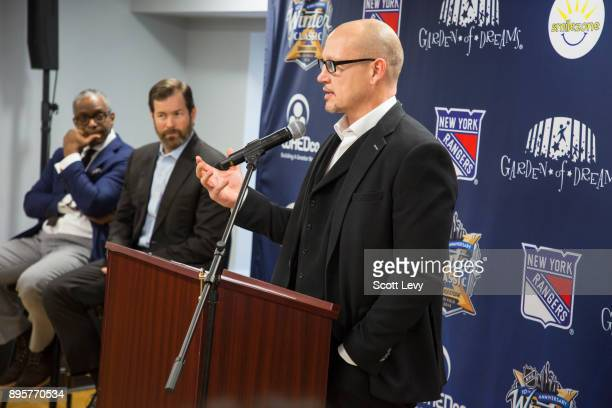 New York Rangers alumni Adam Graves speaks as the NHL and the New York Rangers partner with WHEDco and the Garden of Dreams Foundation to open a...