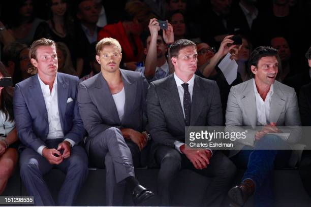 New York Rangers Brad Richards Kellan Lutz Olympic medalist swimmer Ryan Lochte and actor Frank Grillo attend the Joseph Abboud Spring 2013...