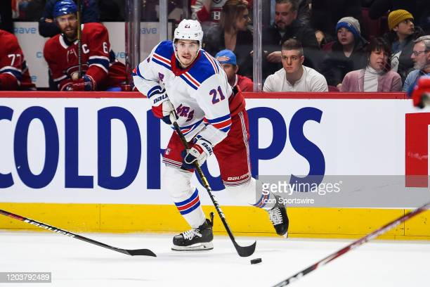 New York Rangers center Brett Howden looks for a pass target during the New York Rangers versus the Montreal Canadiens game on February 27 at Bell...