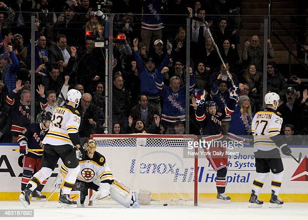 New York Rangers center Derek Stepan celebrates his goahead goal during the second period when the New York Rangers played the Boston Bruins...