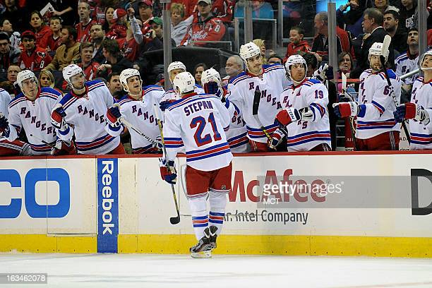 New York Rangers center Derek Stepan celebrates scoring teams first goal in the first period against the against the Washington Capitals at the...