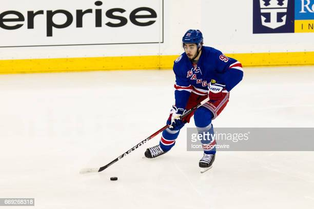 New York Rangers center Mika Zibanejad in action during the first period of game 3 of the first round of the 2017 Stanley Cup Playoffs between the...