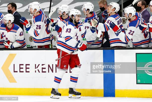 New York Rangers center Mika Zibanejad skates past the bench after scoring during a game between the Boston Bruins and the New York Rangers on May 8...