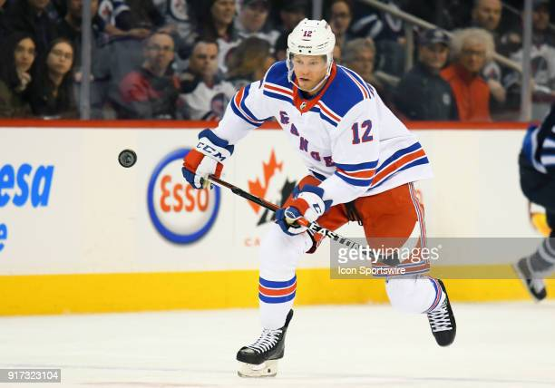 New York Rangers Center Peter Holland skates up ice during a NHL game between the Winnipeg Jets and New York Rangers on February 11 2018 at Bell MTS...
