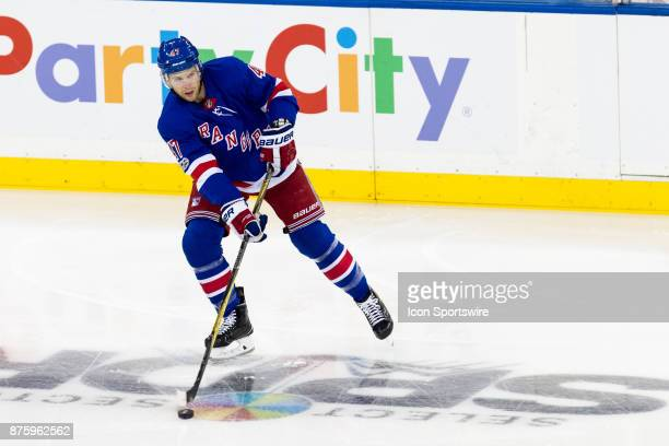 New York Rangers Defenceman Steven Kampfer passes the puck during the first period of a regular season NHL game between the Edmonton Oilers and the...