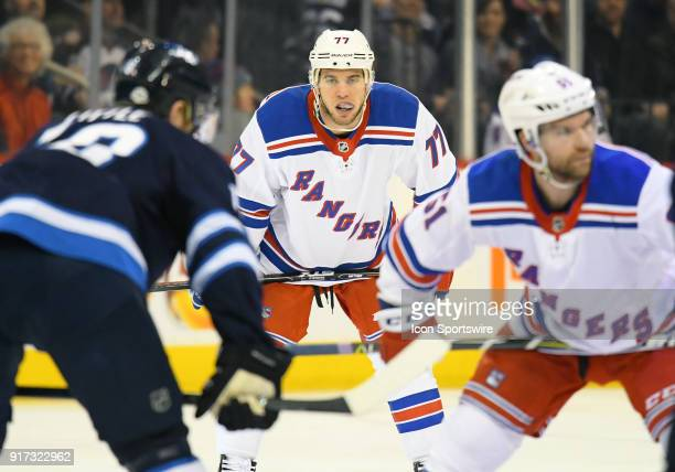 New York Rangers Defenceman Tony DeAngelo lines up during a NHL game between the Winnipeg Jets and New York Rangers on February 11 2018 at Bell MTS...
