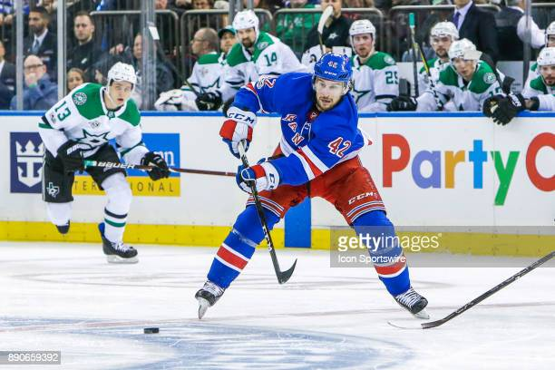 New York Rangers Defenseman Brendan Smith makes pass during the Dallas Stars and New York Rangers NHL game on December 11 at Madison Square Garden in...
