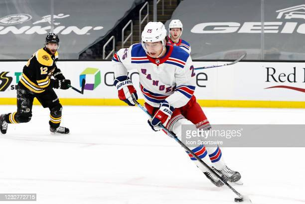 New York Rangers defenseman Libor Hajek turns up ice during a game between the Boston Bruins and the New York Rangers on May 8 at TD Garden in...
