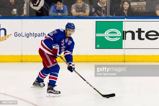 New York Rangers defenseman Ryan McDonagh passes the puck during the first period of game 3 of the first round of the 2017 Stanley Cup Playoffs...