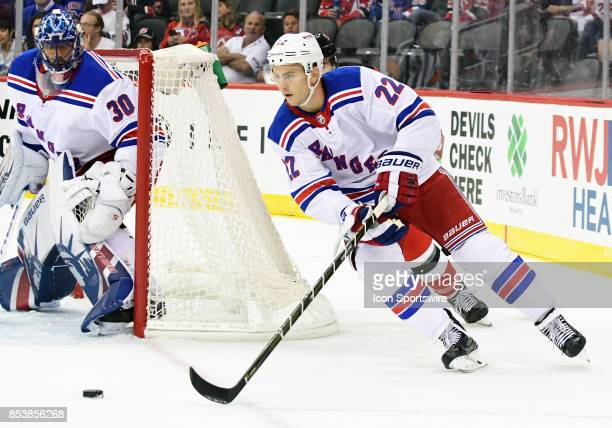 New York Rangers defensemen Kevin Shattenkirk skates with the puck during a preseason NHL game between the New Jersey Devils and New York Rangers on...