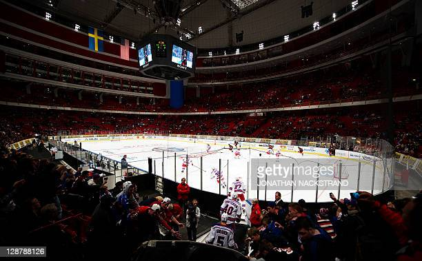 New York Rangers enter the ice rink before their ice hockey NHL season game against Anaheim Ducks's at the Globe Arena on October 8 2011 in Stockholm...