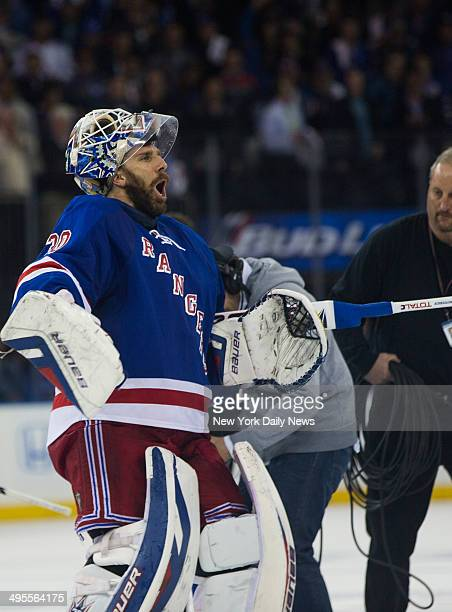 New York Rangers goalie Henrik Lundqvist cheers as they win 10 against the Montreal Canadiens in game 6 of the Eastern Conference Stanley Cup Finals...
