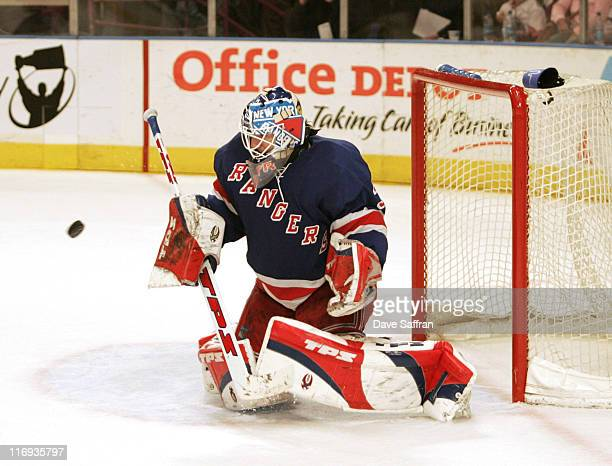 New York Rangers' goalie Henrik Lundqvist during the game against the New Jersey Devils at Madison Square Garden in New York City on April 29 2006