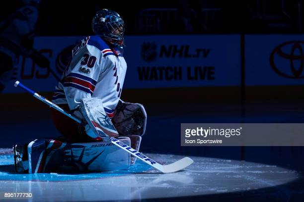 New York Rangers goalie Henrik Lundqvist gets prepared before a game between the Columbus Blue Jackets and the New York Rangers on November 17 at...