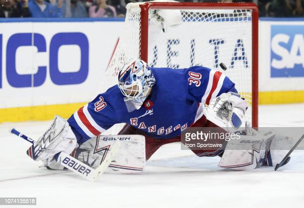 New York Rangers Goalie Henrik Lundqvist gives up the gamewinning goal to Vegas Golden Knights Right Wing Alex Tuch during overtime in the National...