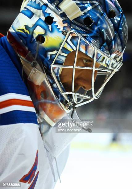 New York Rangers Goalie Henrik Lundqvist looks on during a NHL game between the Winnipeg Jets and New York Rangers on February 11 2018 at Bell MTS...