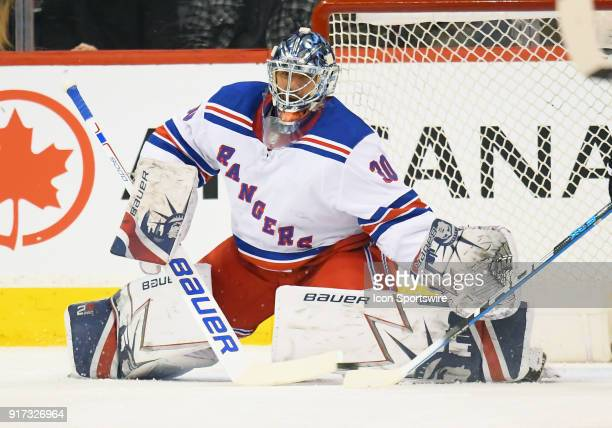 New York Rangers Goalie Henrik Lundqvist makes a save during a NHL game between the Winnipeg Jets and New York Rangers on February 11 2018 at Bell...
