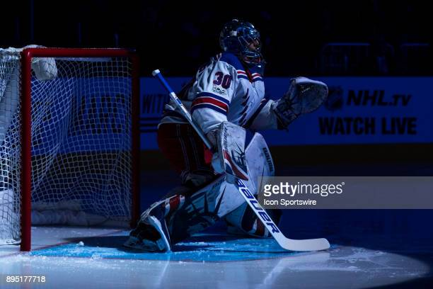 New York Rangers goalie Henrik Lundqvist prepares the ice before a game between the Columbus Blue Jackets and the New York Rangers on November 17 at...