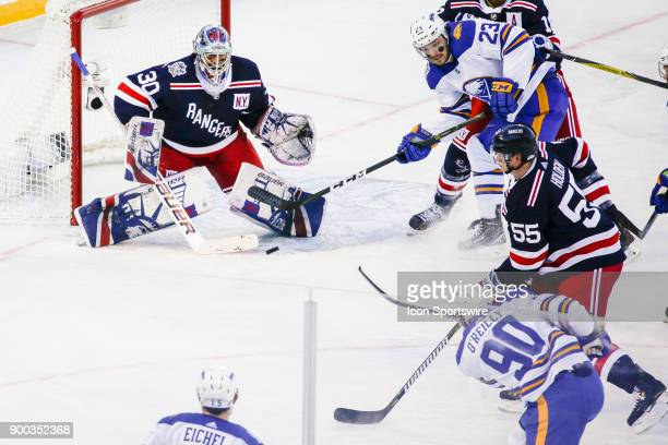 New York Rangers Goalie Henrik Lundqvist prepares to make save on shot by Buffalo Sabres Center Ryan O'Reilly during the New York Rangers and Buffalo...