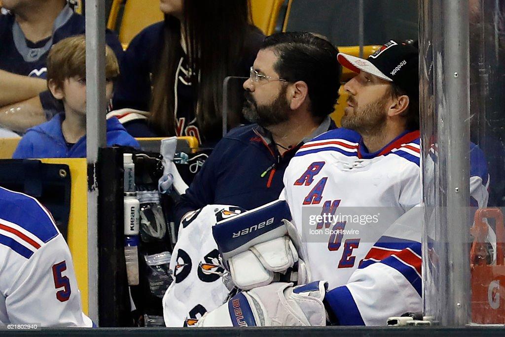 New York Rangers Goalie Henrik Lundqvist Watches From The Bench