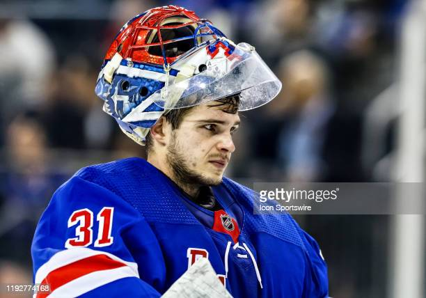 New York Rangers Goalie Igor Shesterkin is pictured during the third period of the National Hockey League game between the New Jersey Devils and the...