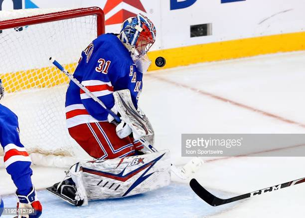 New York Rangers Goalie Igor Shesterkin makes a save during the first period of the National Hockey League game between the Colorado Avalanche and...
