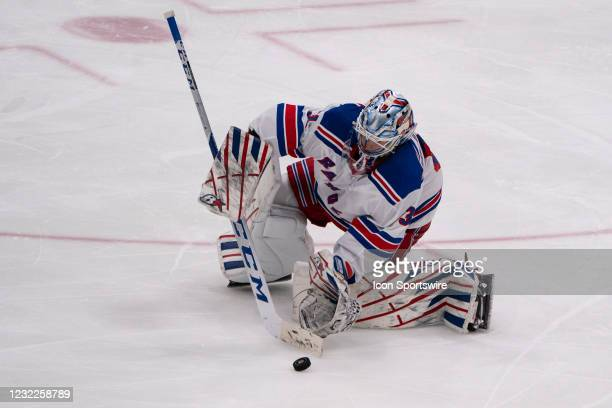 New York Rangers Goalie Igor Shesterkin stops the puck during the third period of the National Hockey League game between the New York Rangers and...