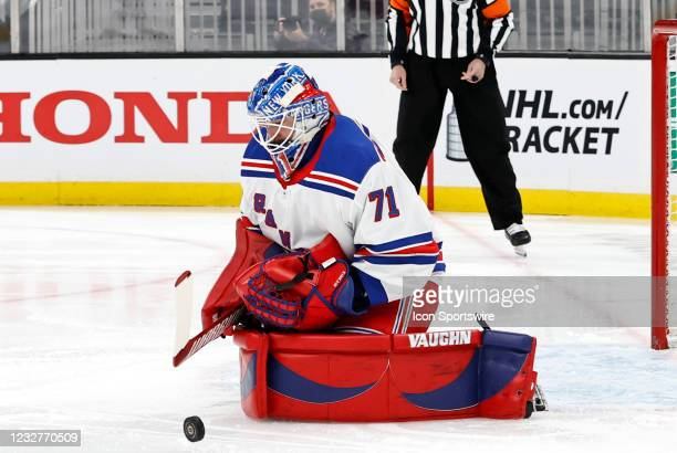 New York Rangers goalie Keith Kinkaid makes a stop during a game between the Boston Bruins and the New York Rangers on May 8 at TD Garden in Boston,...