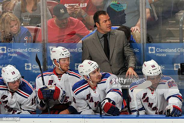 New York Rangers Head Coach Alain Vigneault watches the action from the bench against the Florida Panthers at the BBT Center on January 2 2016 in...