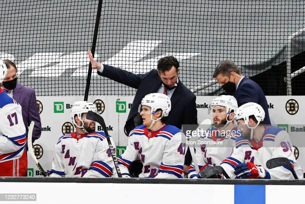 New York Rangers head coach David Quinn checks a replay during a game between the Boston Bruins and the New York Rangers on May 8 at TD Garden in...