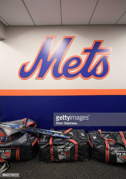 New York Rangers hockey bags are lined up in hallway prior to the 2018 Bridgestone NHL Winter Classic between the New York Rangers and the Buffalo...